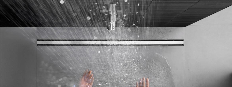 נקודת ניקוז בקיר של Geberit למקלחות רצפה חלקה