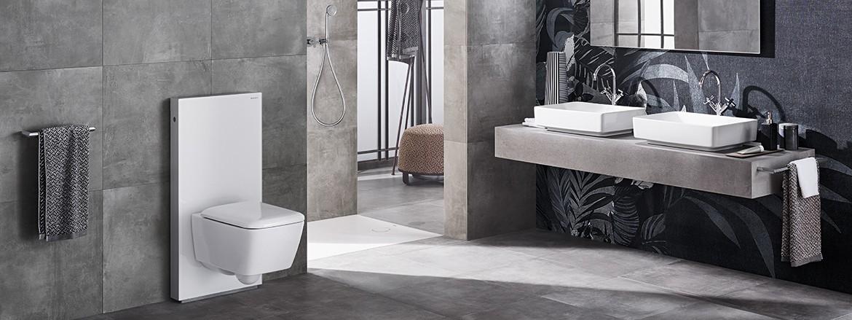 חדר רחצה עם יחידת אסלה Geberit Monolith בצבע לבן