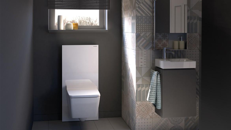 חדר רחצה עם יחידה סניטרית Geberit Monolith בצבע לבן