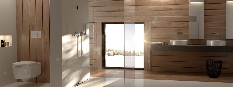 חדר רחצה עם אסלה קרמית, לחצן הפעלה Sigma70 ותעלת מקלחת CleanLine