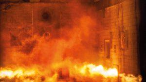 מבחן שרפה של Geberit במכון לבדיקת חומרים (MPA) של אוניברסיטת שטוטגרט